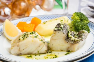 Steamed Atlantic Cod fish with olive oil and garlic – Traditiona
